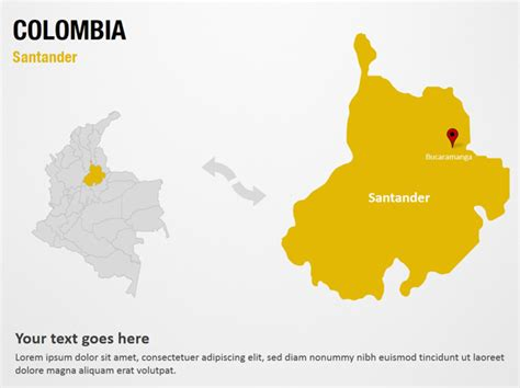 Santander   Colombia PowerPoint Map Slides   Santander ...