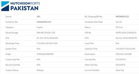 SAPT Container Tracking   PakistanCustoms.net