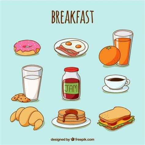 Schizzi di cibo delizioso per la prima colazione | Vettore ...
