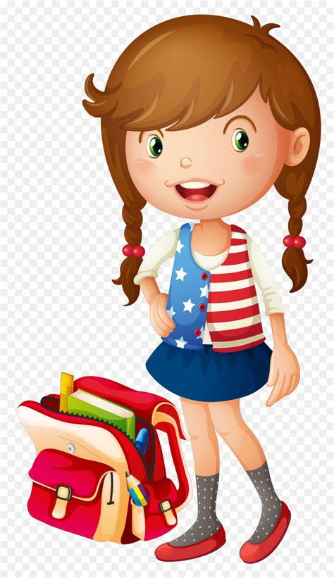 School Bag Illustration   Vector cartoon little girls png ...