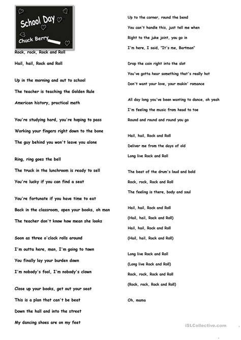 School Day Lyrics.   English ESL Worksheets for distance ...