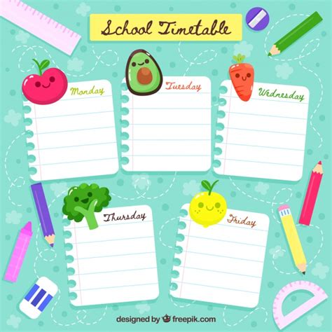 School timetable template with cartoon style | Free Vector