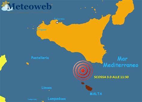 Scossa di terremoto nel Canale di Sicilia: magnitudo 3.0 ...