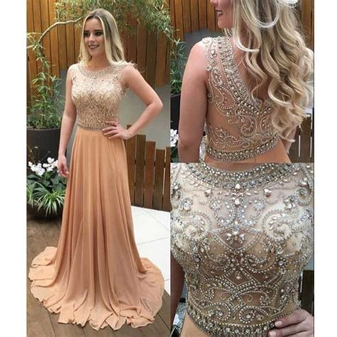 See through beaded prom dress, Long Champagne prom dresses ...