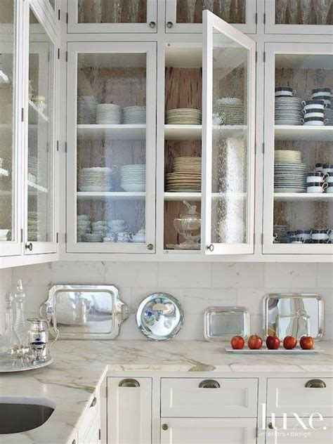Seeded Glass Door Fronts   Transitional   kitchen   Luxe ...