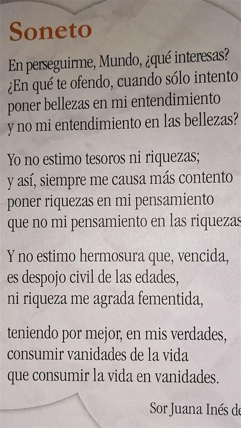 señala las sinalefas del poema soneto de Sor Juana Inés de ...