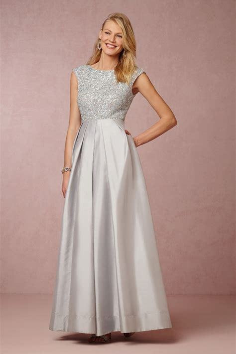 Sequined Long Silver Satin Mother Of The Bride Dresses ...