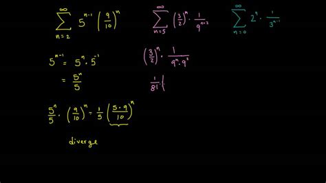 Series geométricas convergentes y divergentes. Ejemplos ...