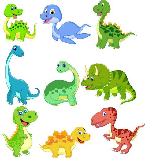 Set de dibujos animados de colección de dinosaurios ...