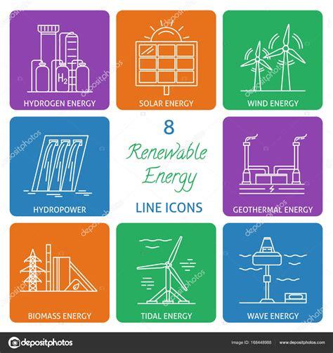 Set di icone di linea di energia rinnovabile — Vettoriali ...