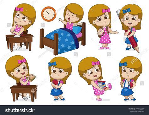 Set Girl Doing Activities One Day Stock Vector 708912034 ...