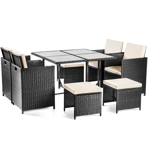 Set muebles jardin OLBIA 9 piezas ratan negro sillones ...