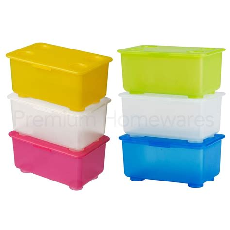 Set of 3 IKEA GLIS Small Plastic Storage Boxes with Hinged ...