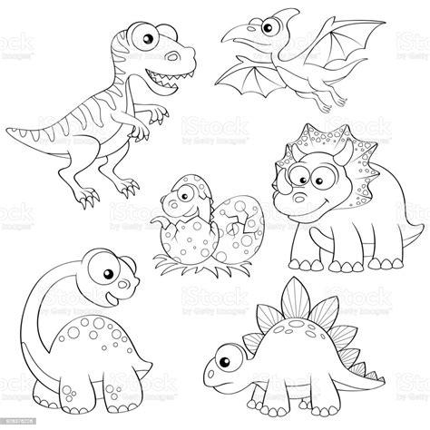 Set Of Cartoon Dinosaurs Cute Dino Black And White Vector ...