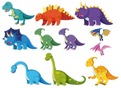 Set of cartoon dinosaurs   Download Free Vectors, Clipart ...