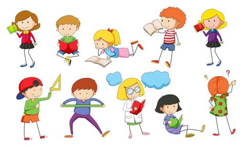 Set of children studying illustration Vector | Free Download