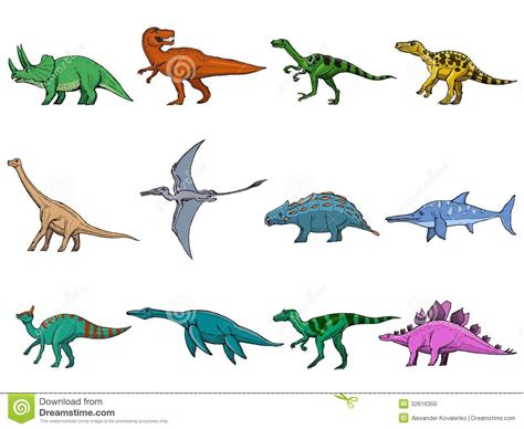 Set of different dinosaurs stock vector. Illustration of ...