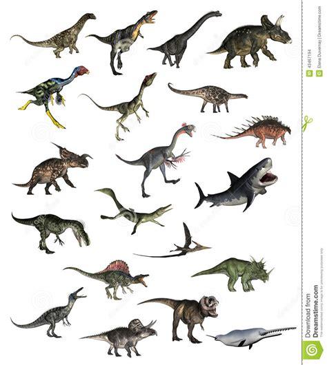 Set Of Dinosaurs   3D Render Stock Illustration ...