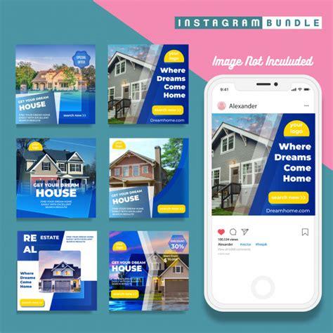 Set of real estate instagram post banners   Premium Vector