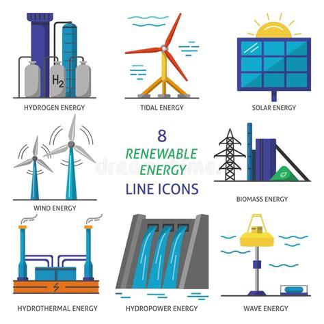 Set Of Renewable Energy Flat Style Icons Stock Vector ...