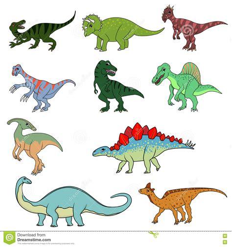 Set Of Ten Different Dinosaurs Stock Vector   Illustration ...