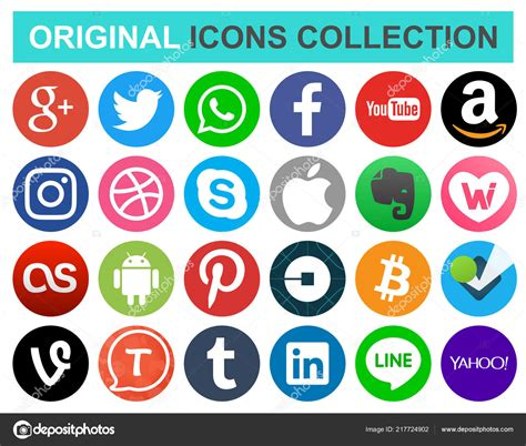 Set Popular Circle Social Media Other Icons Facebook ...