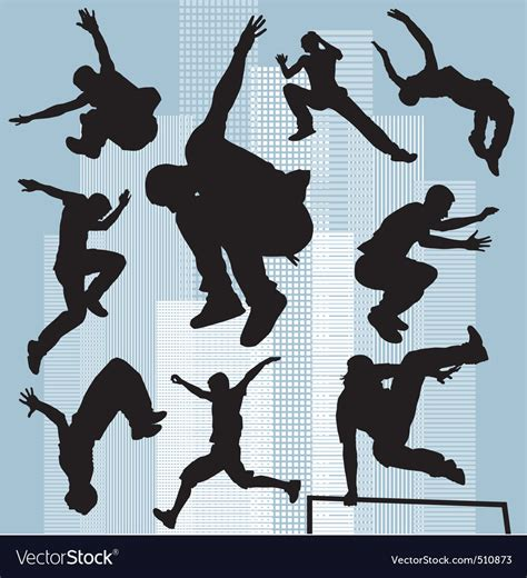 Set silhouettes parkour Royalty Free Vector Image