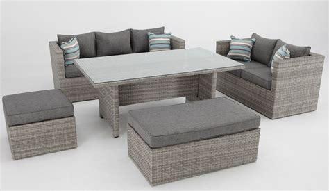 Set sofas de terraza con mesa de comedor rattan Carmel ...