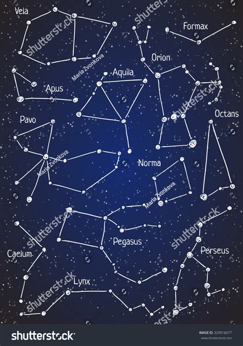 Set Star Constellations Vector Space Astronomy Stock ...