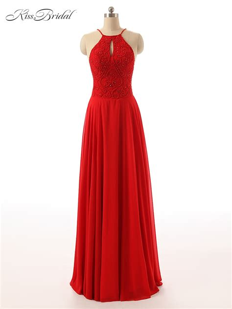Sexy Red Mermaid Prom Dress 2017 Long Halter Beaded Slim ...