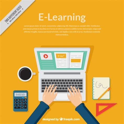 Sfondo di apprendimento online con computer e persona a ...