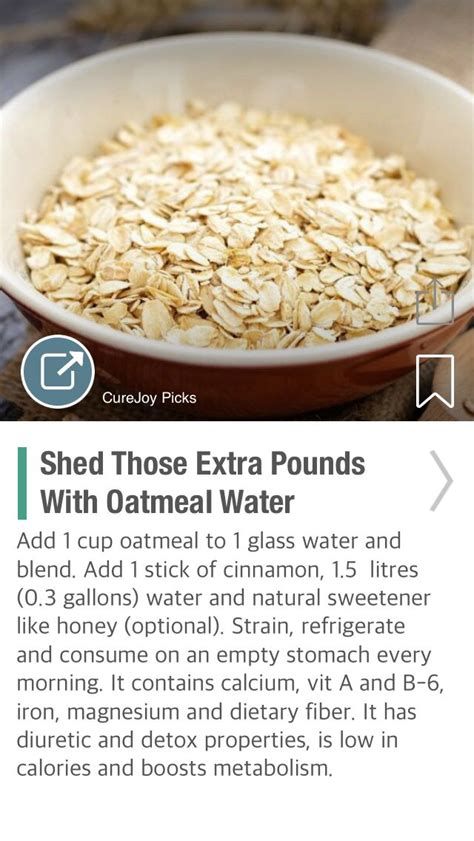 Shed Those Extra Pounds With Oatmeal Water   via @CureJoy ...