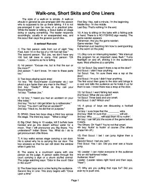 Short Skits One Liners   Fill Online, Printable, Fillable ...