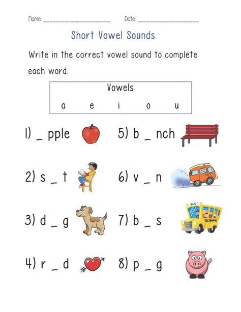 Short Vowel Sounds Worksheet   Vowel worksheets, Phonics ...