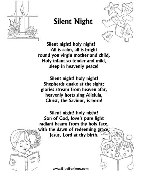 Silent Night  music lyrics free printable | ... Free ...