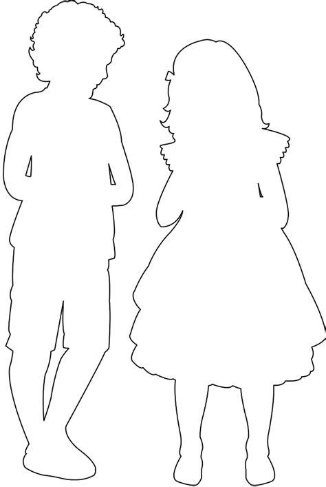 Silhouette: Garçon et fille   Silhouettes vectoriel