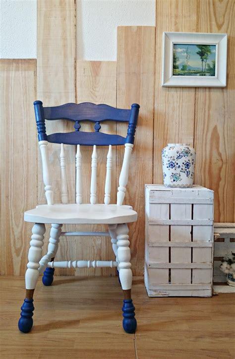 silla vintage bicolor en blanco y azul   Tienda online de ...