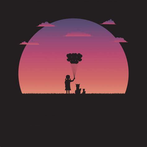 Silueta de una niña con globo en forma de corazón y perro ...