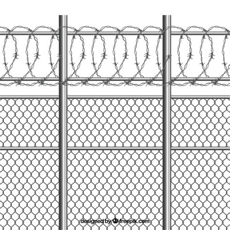 Silver metal fence with barbed wire Vector   Free Download