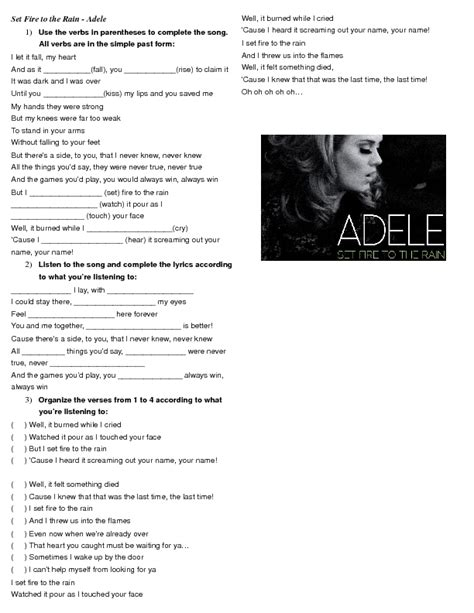 Simple Past Song Worksheet: Set Fire to the Rain by Adele ...
