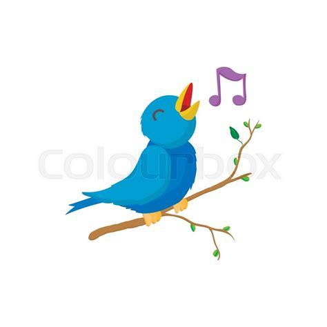Singing bird icon in cartoon style ...   Stock Vector ...