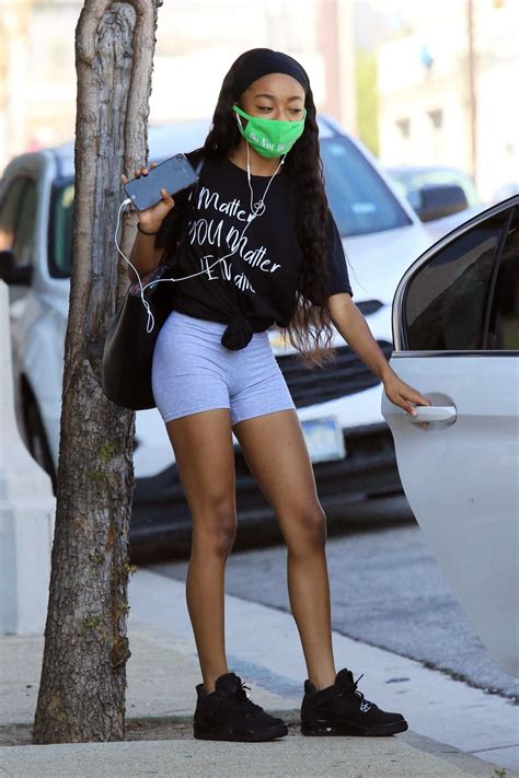 Skai Jackson in a Green Protective Mask Leaves the Dance ...