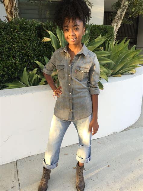 Skai Jackson s Go to Fall Outfit: Denim on Denim