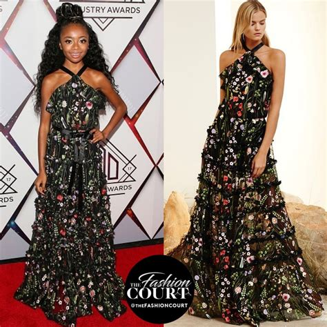 Skai Jackson wore a floral #Alexis Resort 2017 halter gown ...