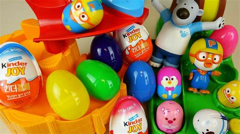 Slide Pororo and Surprise eggs Kinder Joy toys   YouTube