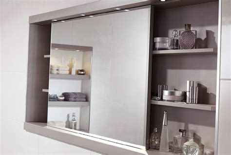 Sliding mirror cabinet with feature shelving and concealed ...