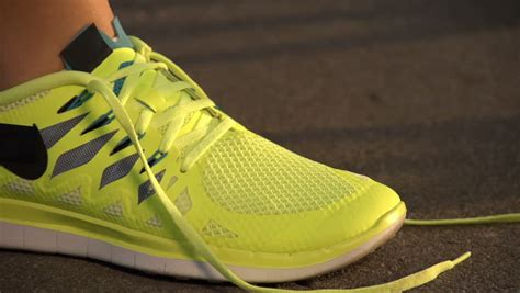 Slow Motion: Running Shoes. Barefoot Running Shoes Closeup ...