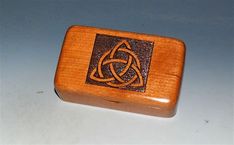 Small Wooden Box With Engraved Triquetra on Cherry ...