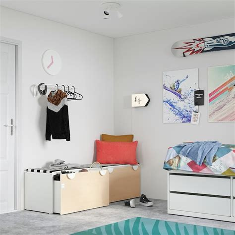 SMÅSTAD Banco con almacenaje juguetes   blanco/abedul   IKEA