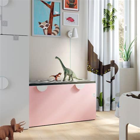 SMÅSTAD Banco con almacenaje juguetes   blanco/rosa claro ...